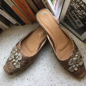 Ashro beaded and embroidered slides, 8.5
